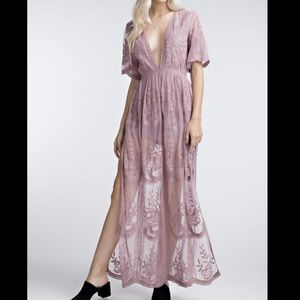 Wild Honey Mauve Lace Embroidered Maxi Dress Large